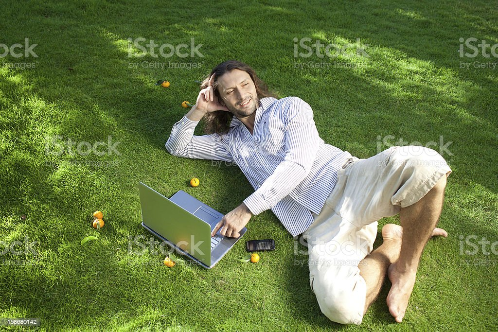 Holiday with laptop royalty-free stock photo