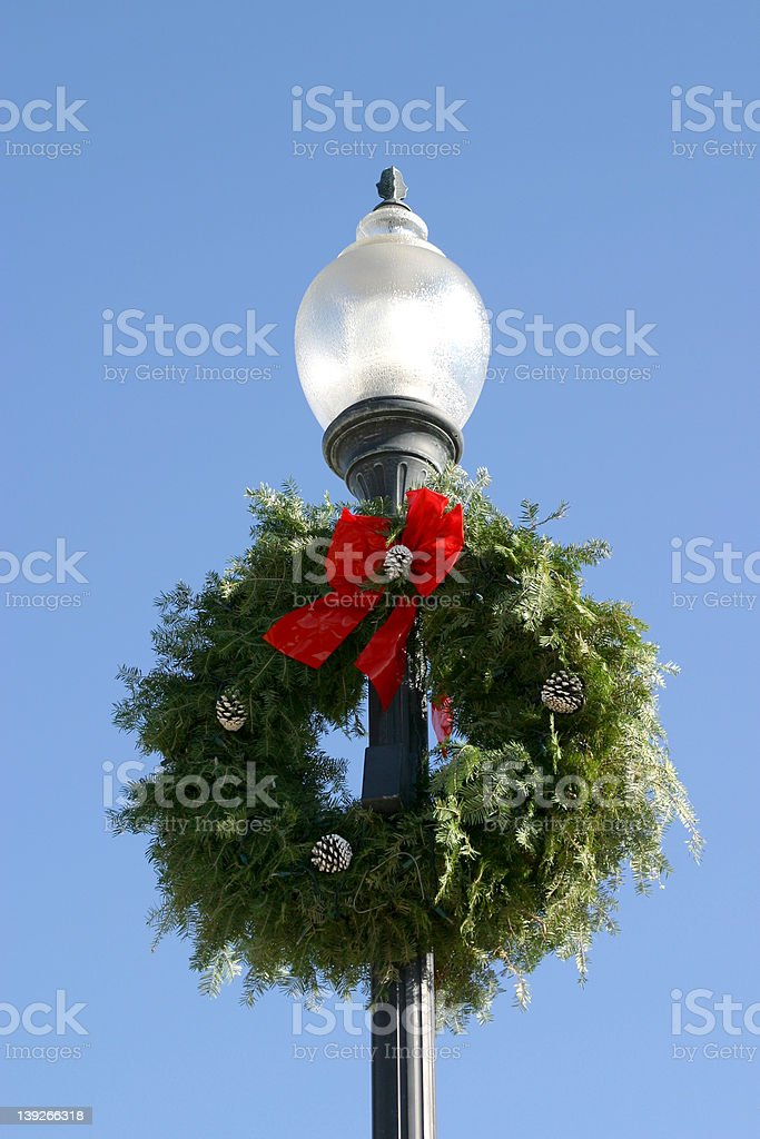 Holiday Wreath on a Lamp Post royalty-free stock photo