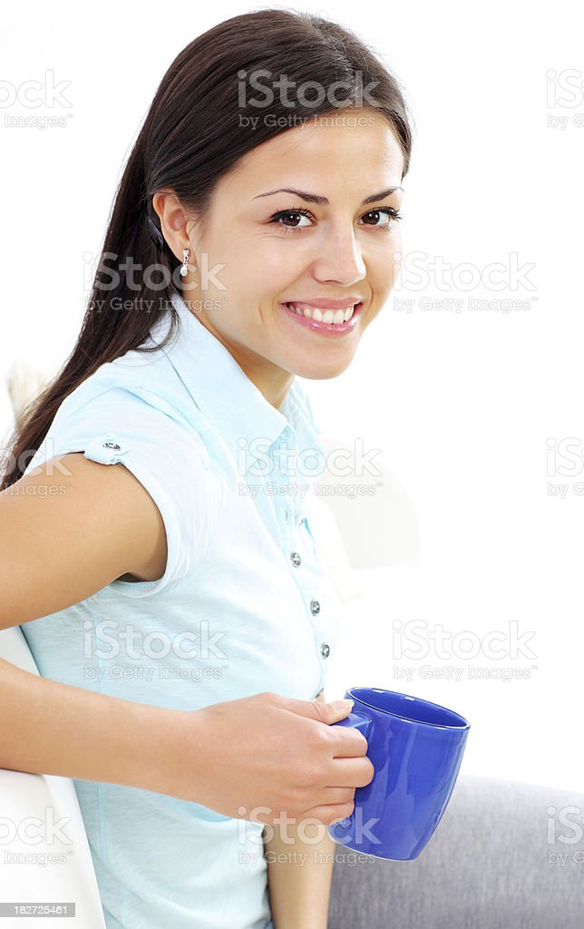 Holiday young attractive girl with a cup of coffee. royalty-free stock photo