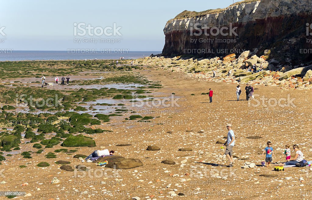 Holidaymakers on Hunstanton beach royalty-free stock photo