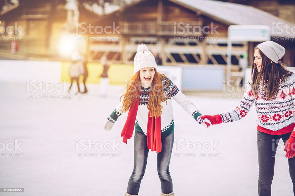 Holidays are for fun with bestie stock photo