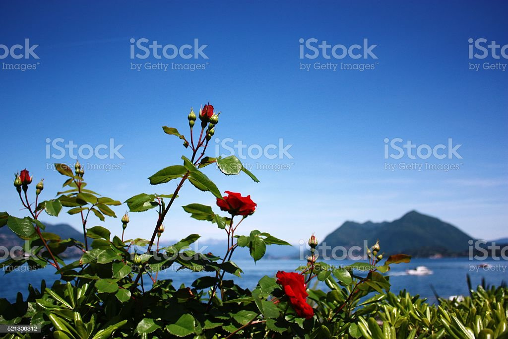 Holidays at Lake Maggiore, Piedmont Italy stock photo