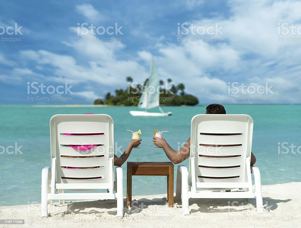 Holidays at the seaside with cocktails royalty-free stock photo