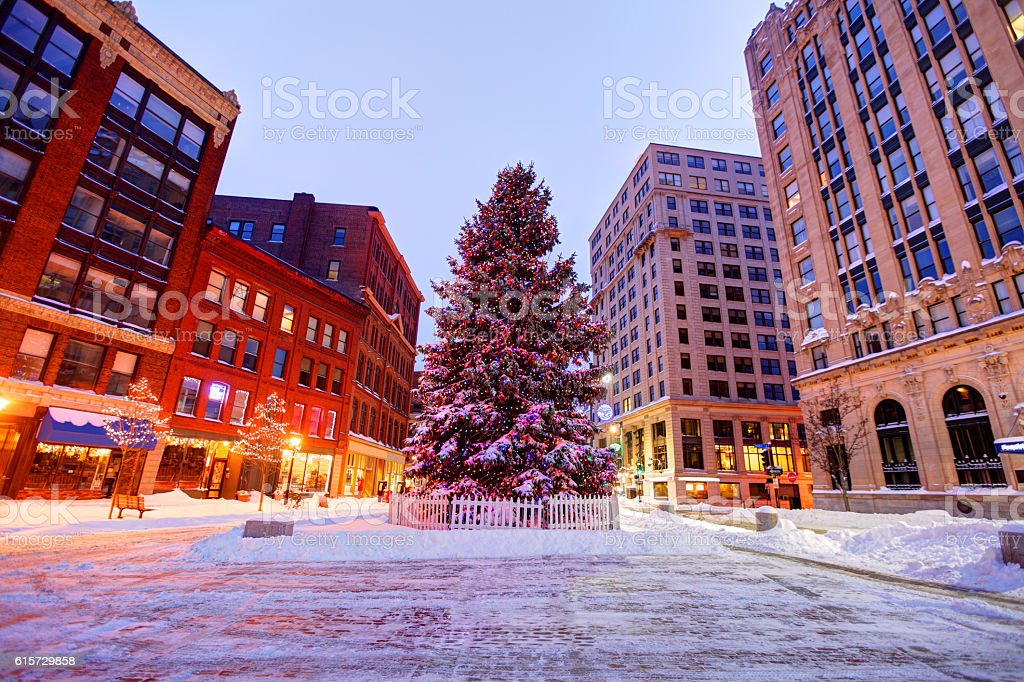 Holidays in Portland Maine stock photo