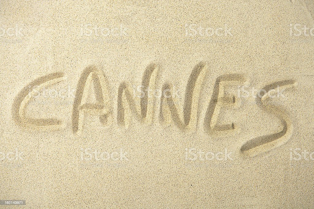 Holidays location sand series: Cannes stock photo