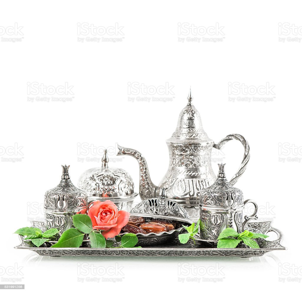Holidays tea table setting Oriental hospitality concept Eid mubarak stock photo