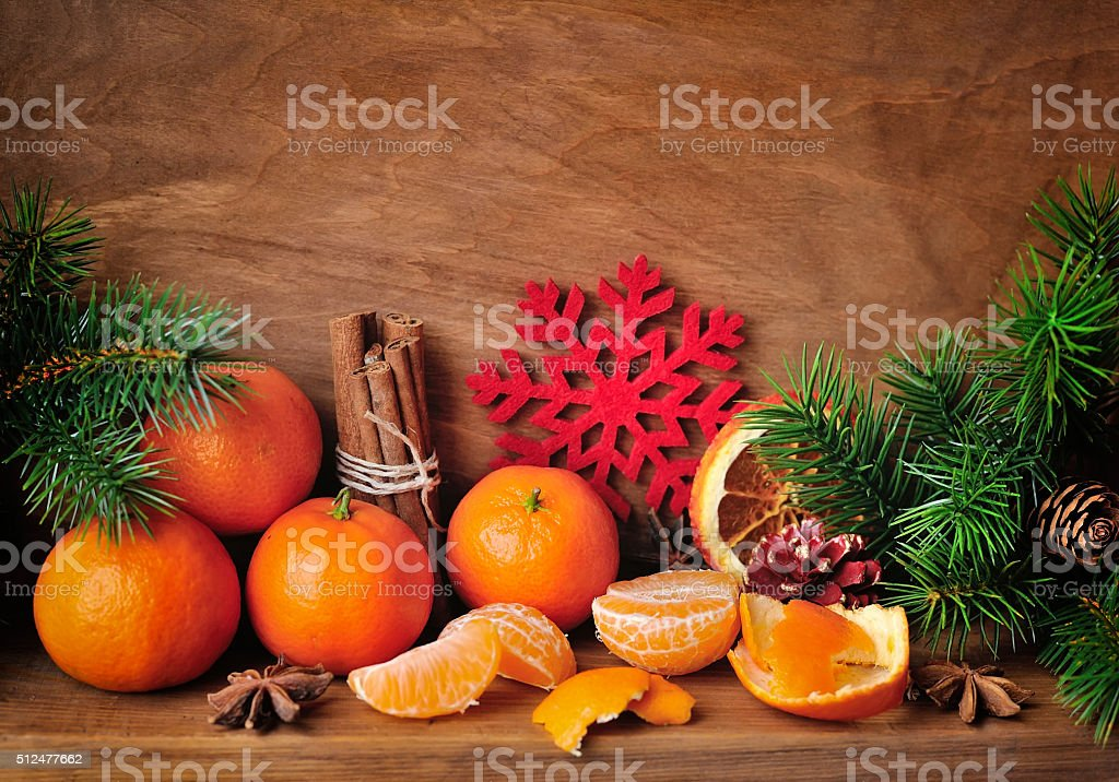 Holidays time. Christmas composition with tangerines, star anise stock photo