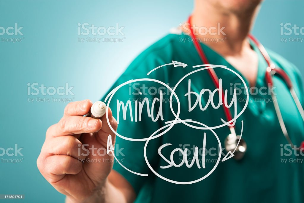 Holistic approach mind body and soul stock photo