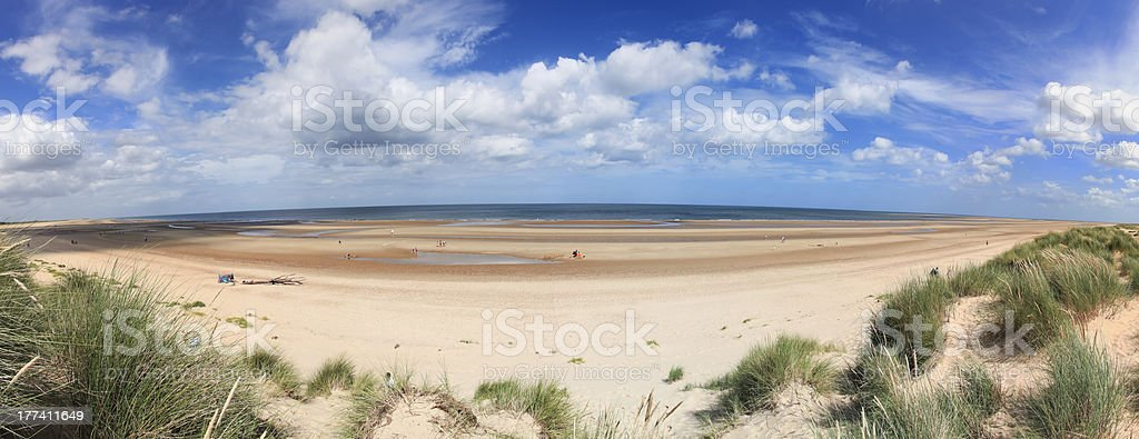Holkham Beach Panorama Norfolk England royalty-free stock photo