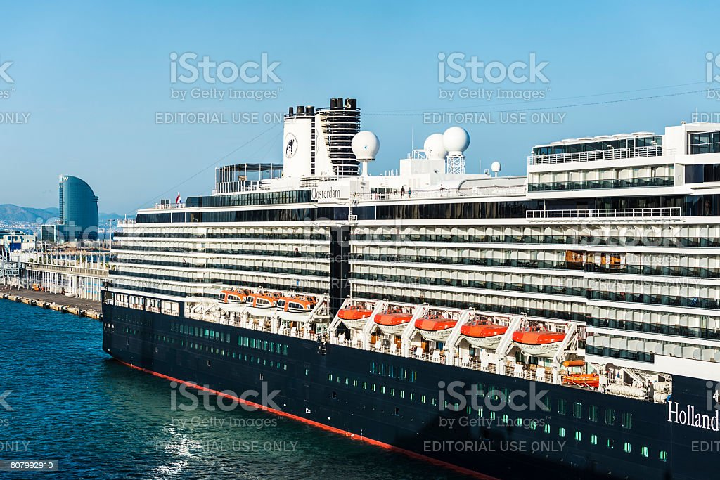 Holland America Line cruise in the port of Barcelona stock photo