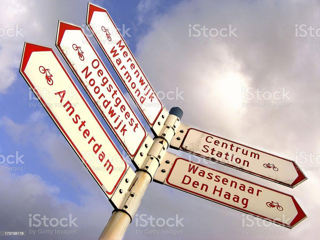 Holland crossroad sign stock photo
