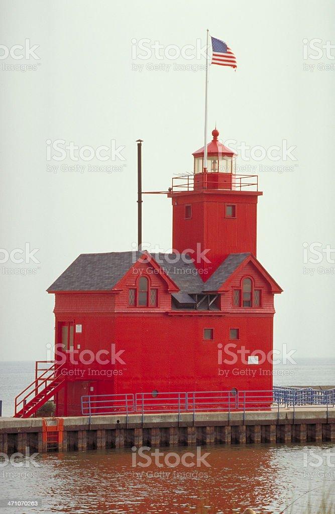 Holland Harbor Light stock photo