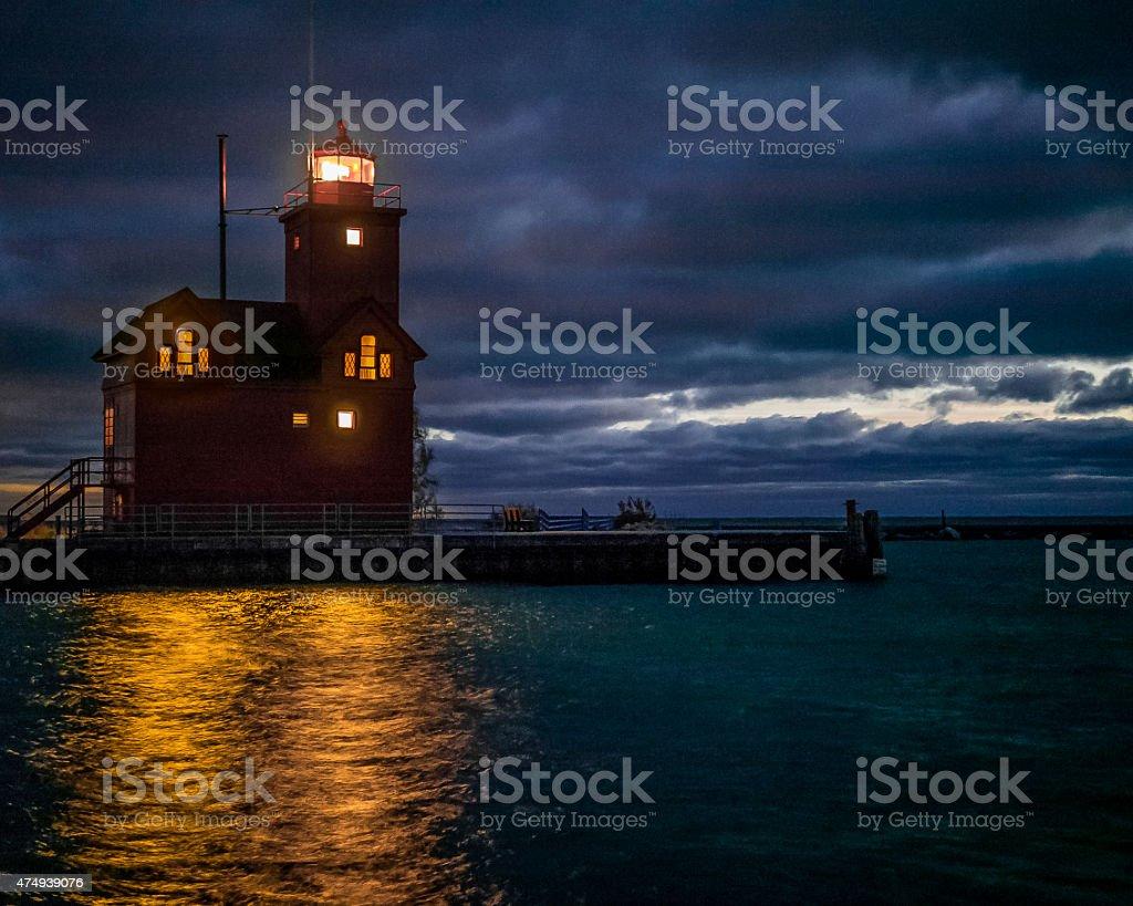 Holland Lighthouse At Night stock photo