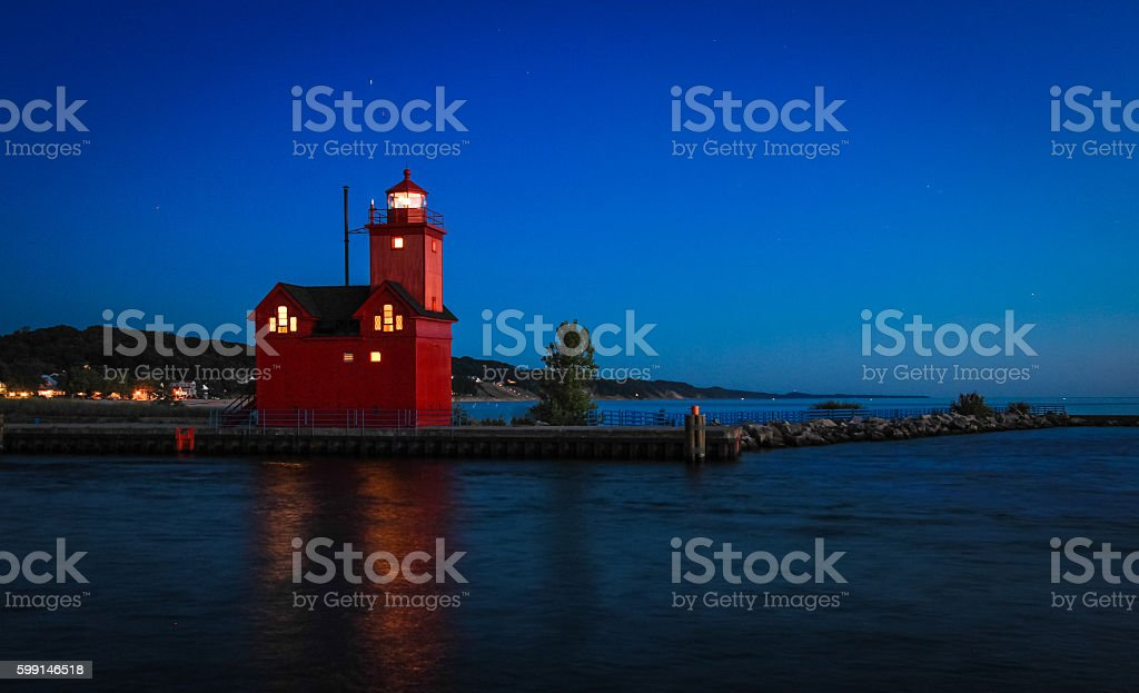 Holland Michigan Lighthouse At Night stock photo