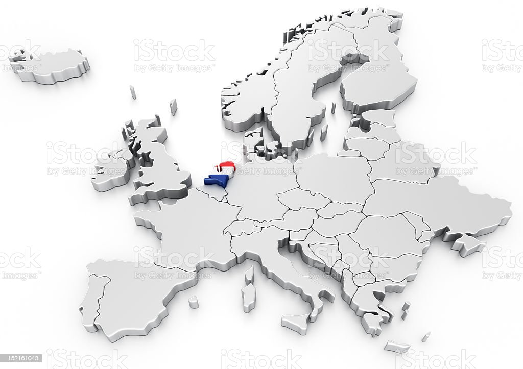 Holland on a Euro map royalty-free stock photo
