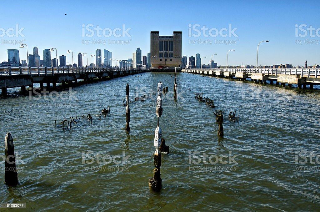 Holland Tunnel Ventilation Tower, Hudson River, Manhattan, New York City stock photo