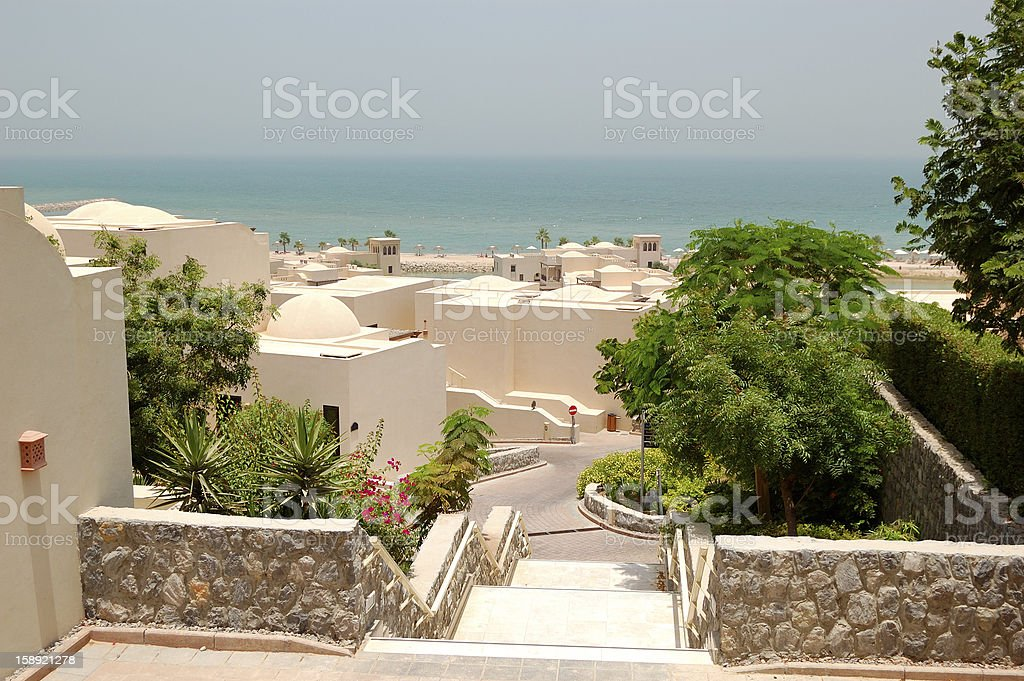 Holliday villas at the luxury hotel, Ras Al Khaimah, UAE stock photo