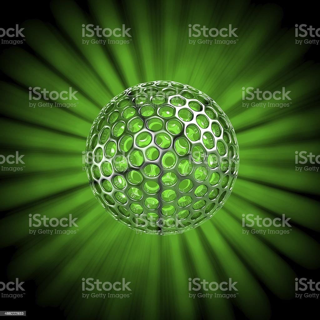 Hollow ball isolated with glow rays royalty-free stock photo