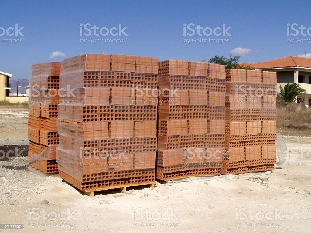 Hollow bricks on palettes royalty-free stock photo