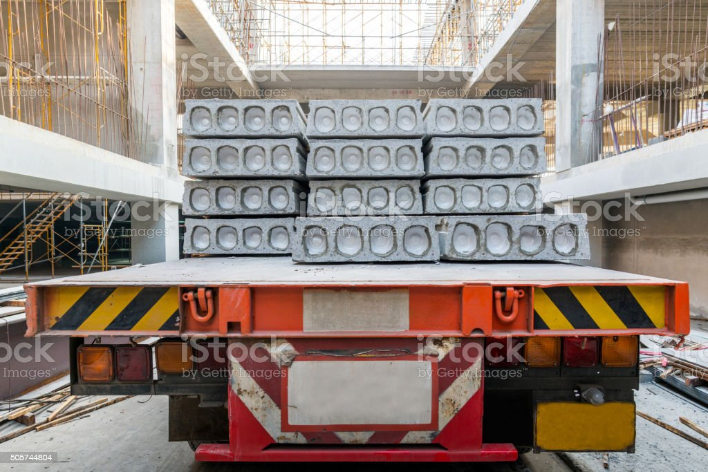 Hollow core slab on truck stock photo