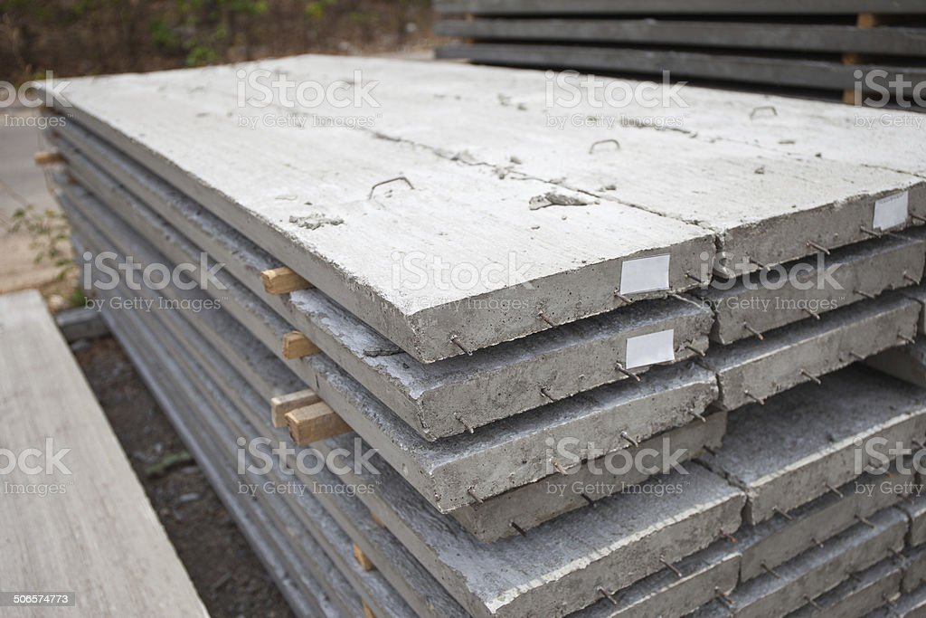 hollow core slab preparing for construction stock photo