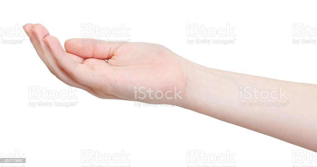 hollow palm - hand gesture stock photo