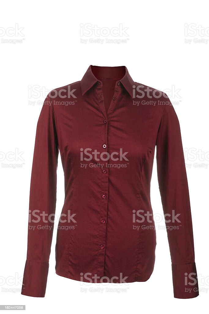 Hollow red blouse with long sleeves, isolated on white backgroun stock photo