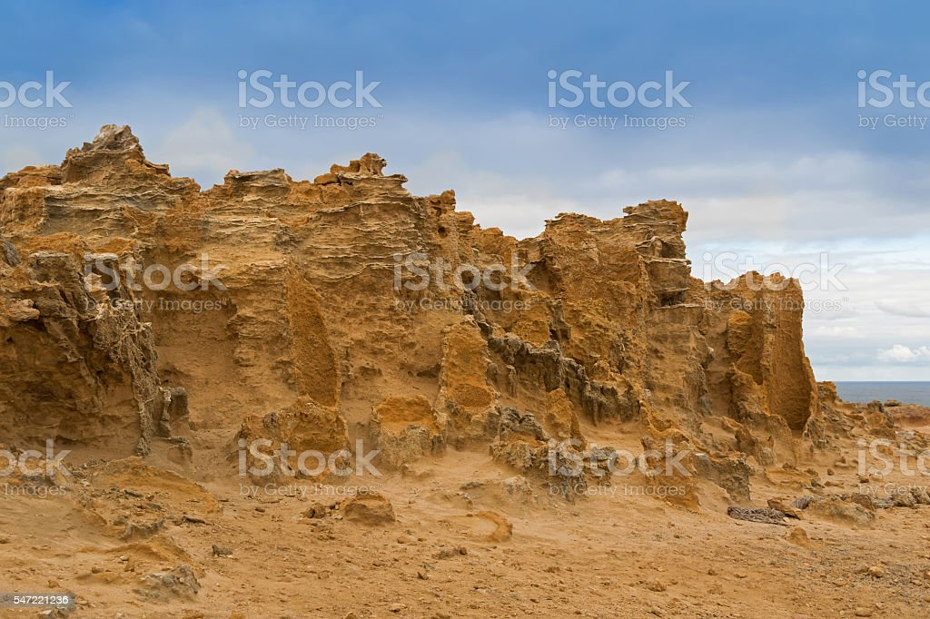 Hollow tubes of limestone, petrified trunk rocks at Petrified Forest stock photo