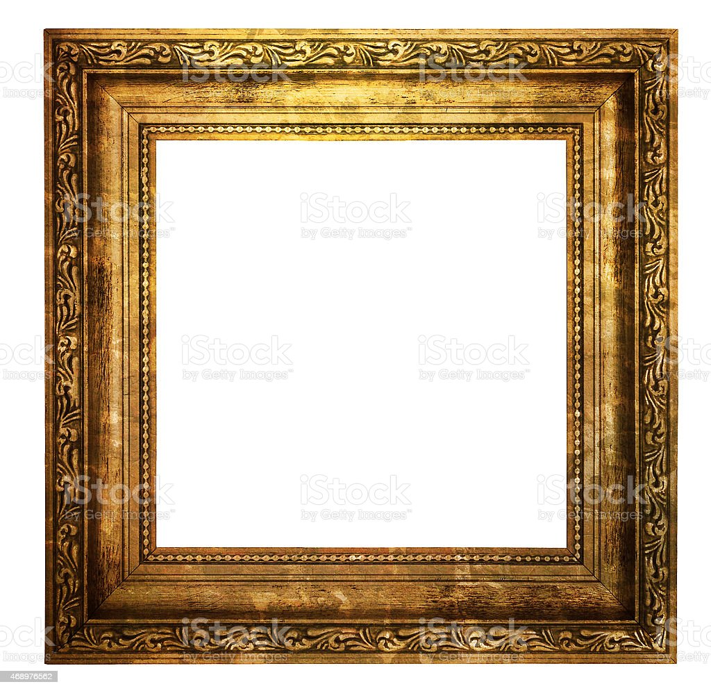 Hollow wooden frame isolated on white stock photo