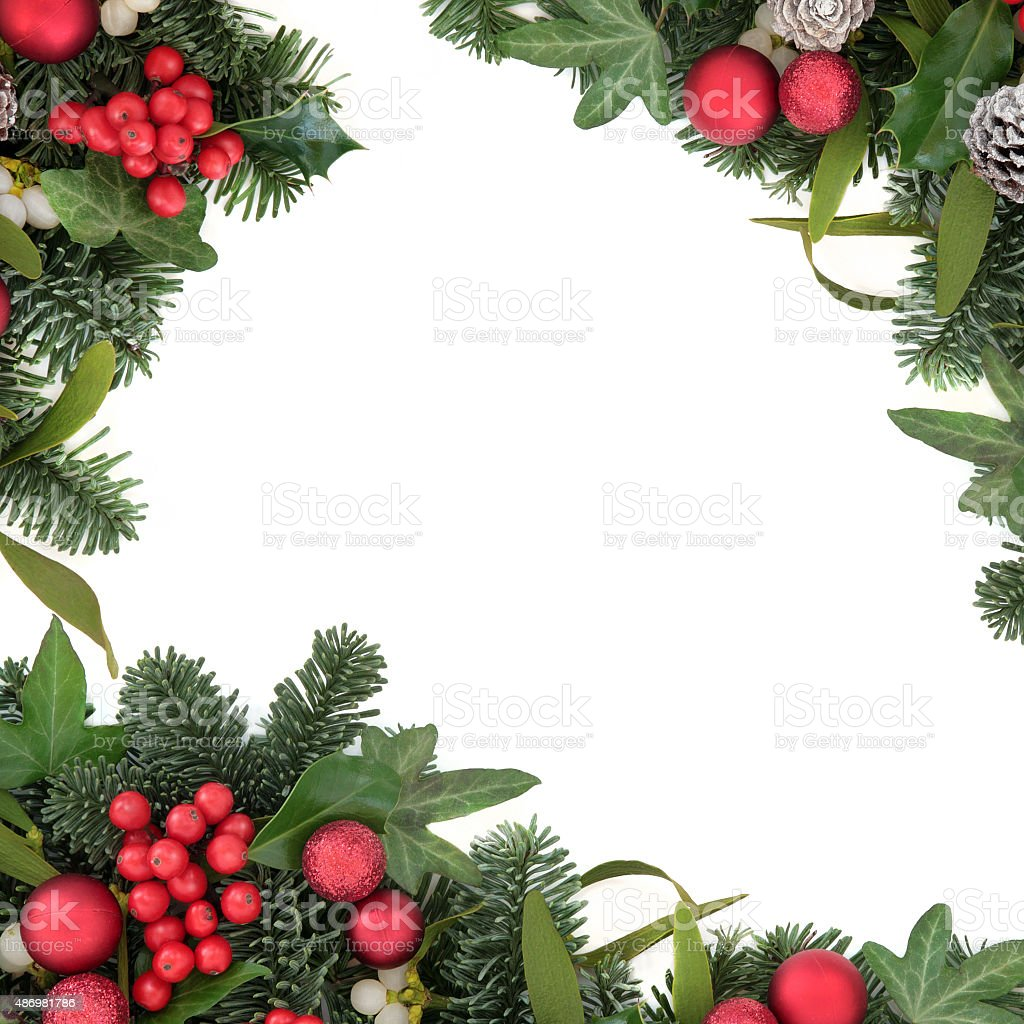Holly and Red Bauble Border stock photo