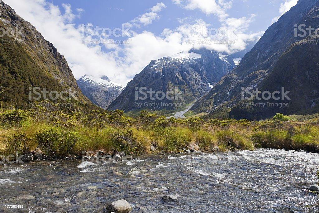 Hollyford River valley in Fjordland NP, NZ royalty-free stock photo
