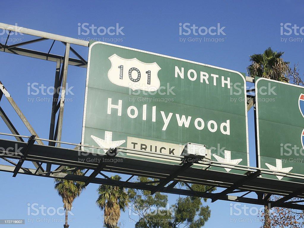 Hollywood 101 Freeway Road Sign royalty-free stock photo