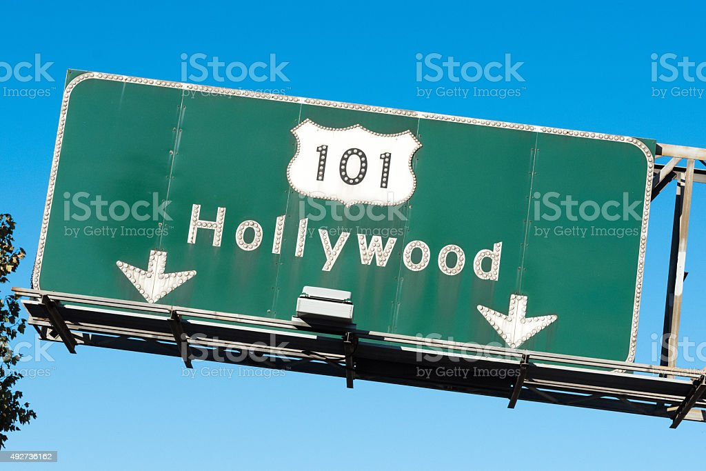 Hollywood 101 Freeway Sign stock photo