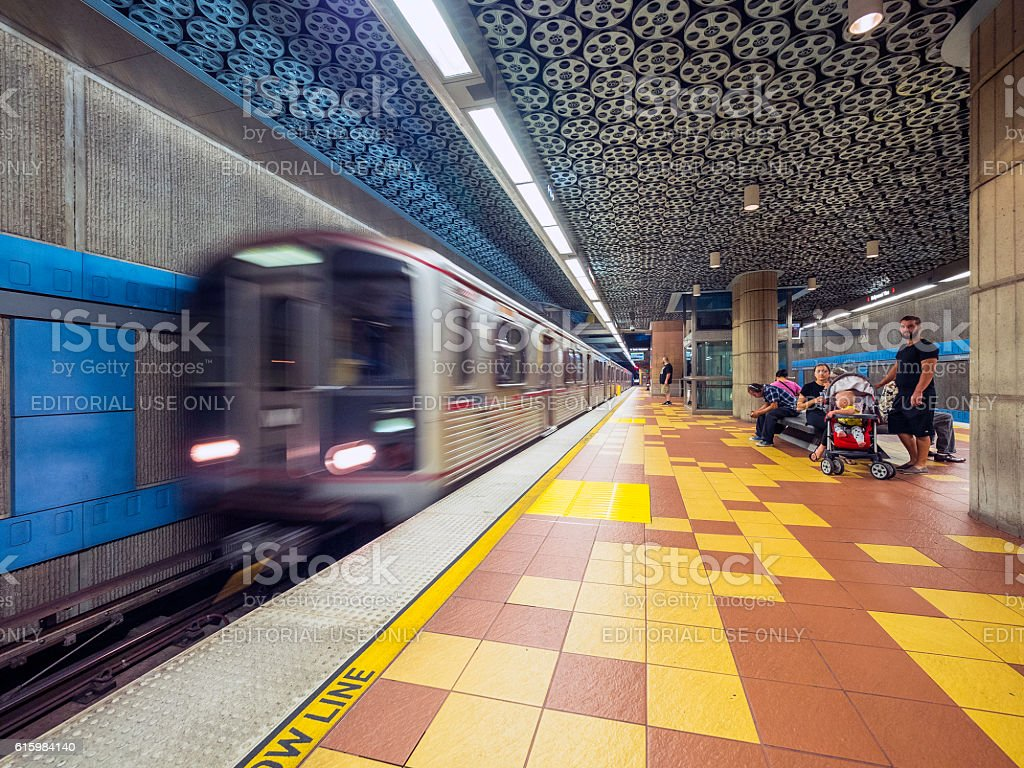 Hollywood and Vine Metro station with train arriving stock photo