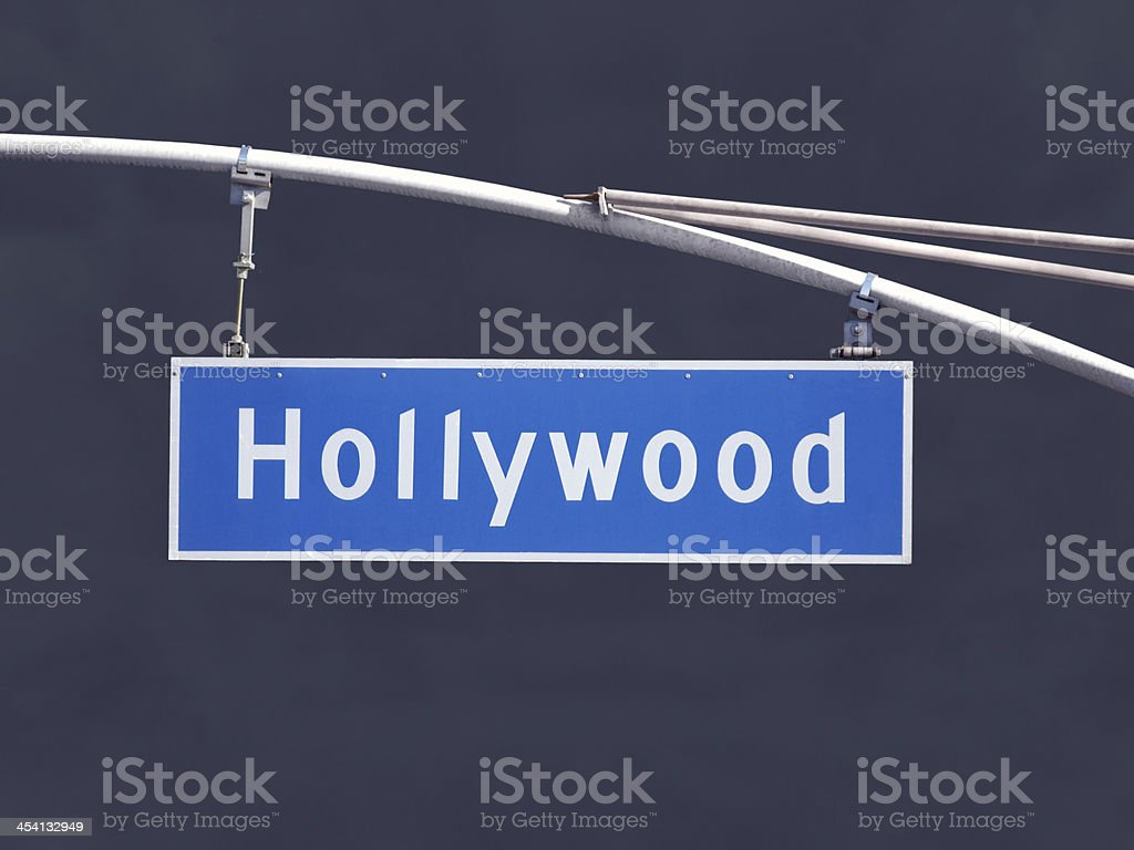Hollywood Blvd Overhead Street Sign with Dark Storm royalty-free stock photo