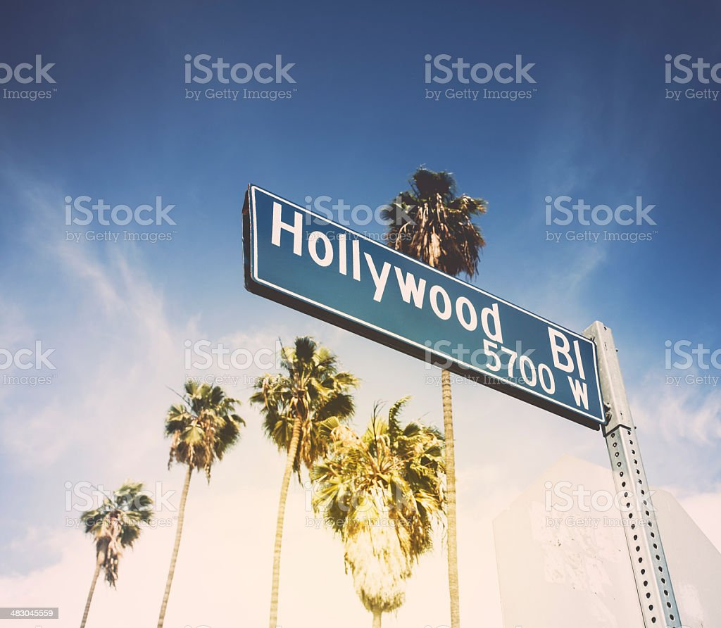 Hollywood Blvd Road SIgn WIth Palm Trees Linning The Street stock photo