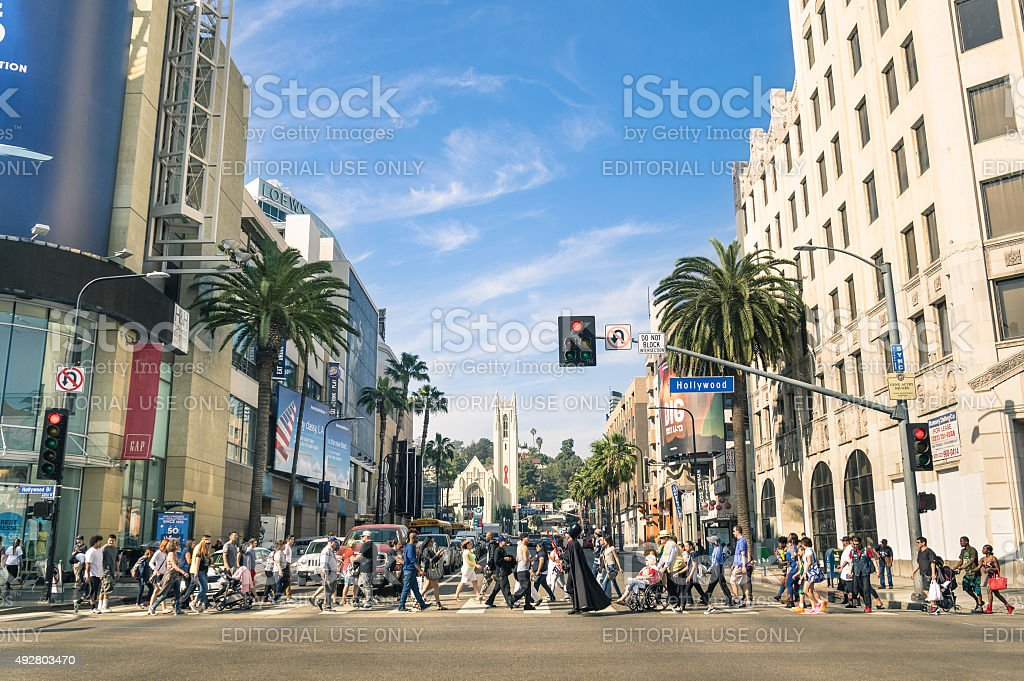 Hollywood Boulevard and Walk of Fame in Los Angeles stock photo