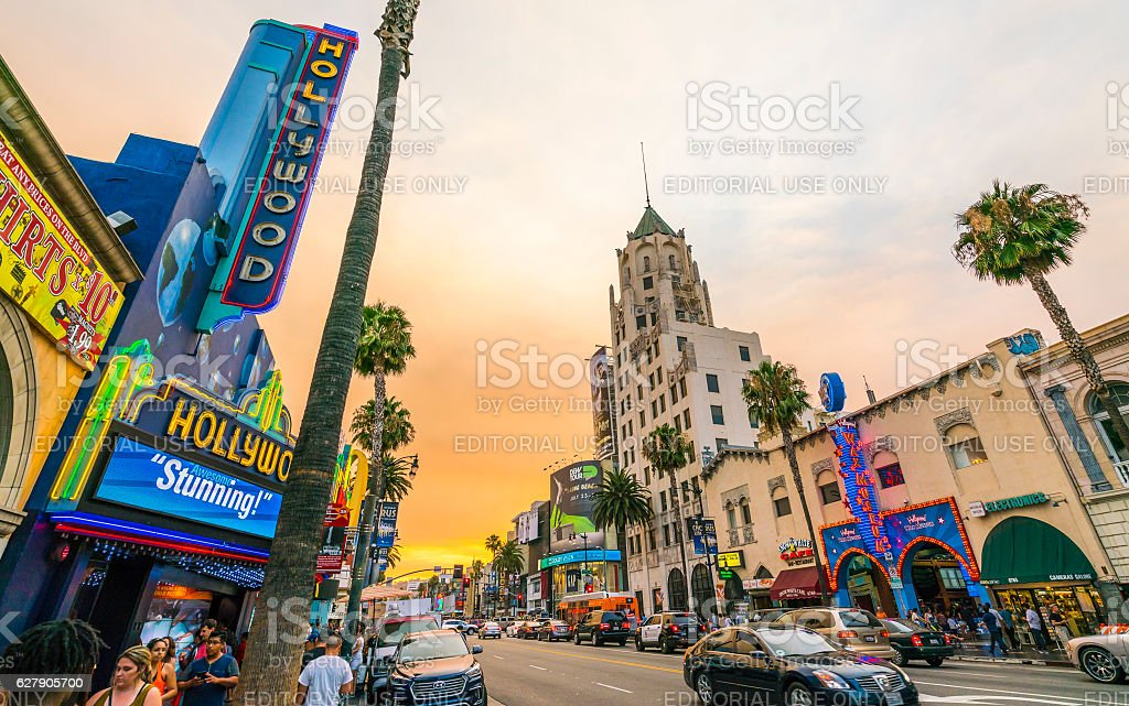 Hollywood boulevard at sunset ,Los Angeles,California,usa. stock photo