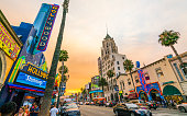 Hollywood boulevard at sunset ,Los Angeles,California,usa.