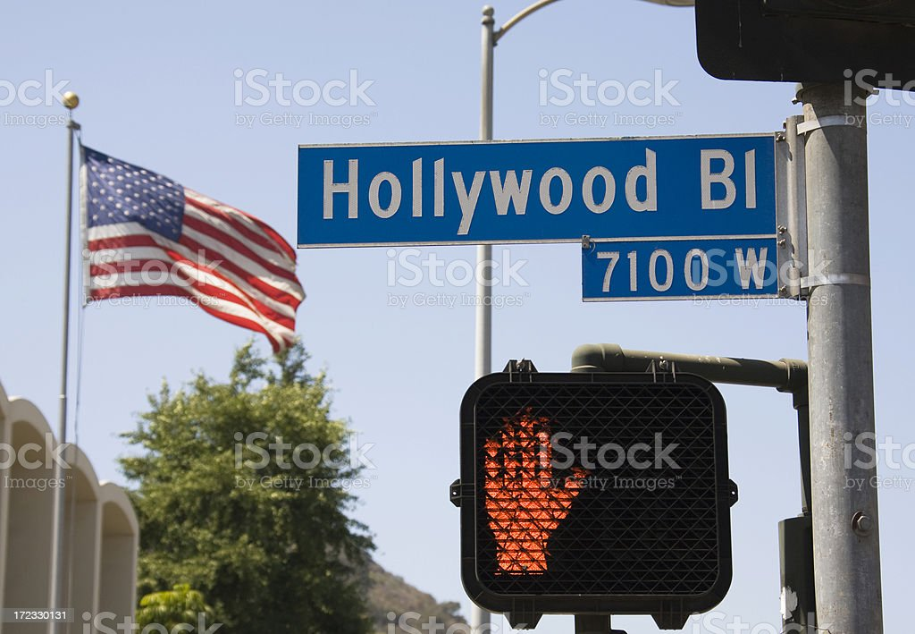 Hollywood Boulevard street sign and American flag royalty-free stock photo
