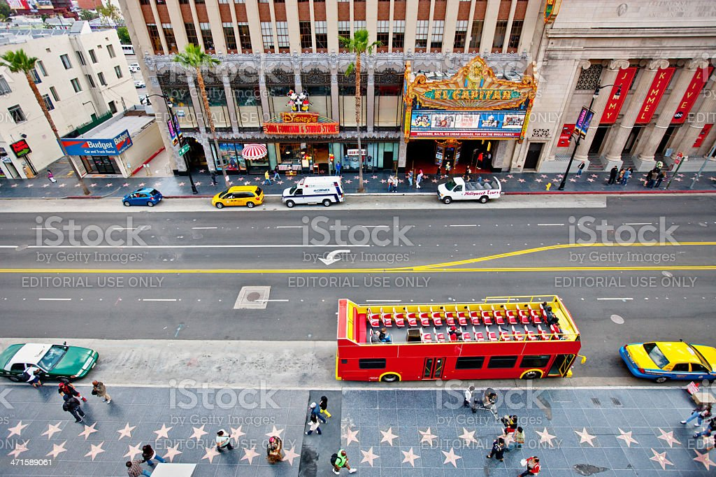 Hollywood Boulevard, Tour Bus and El Capitan Theatre stock photo