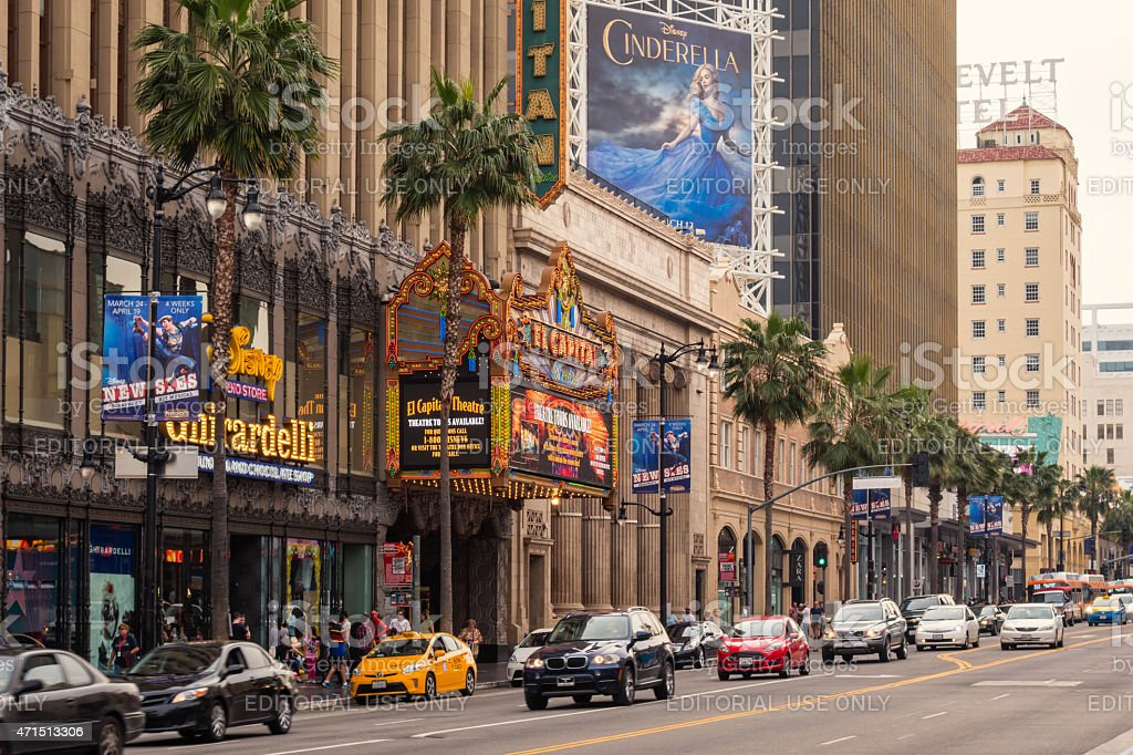 Hollywood Boulevard with the El Capitan Theatre Los Angeles stock photo