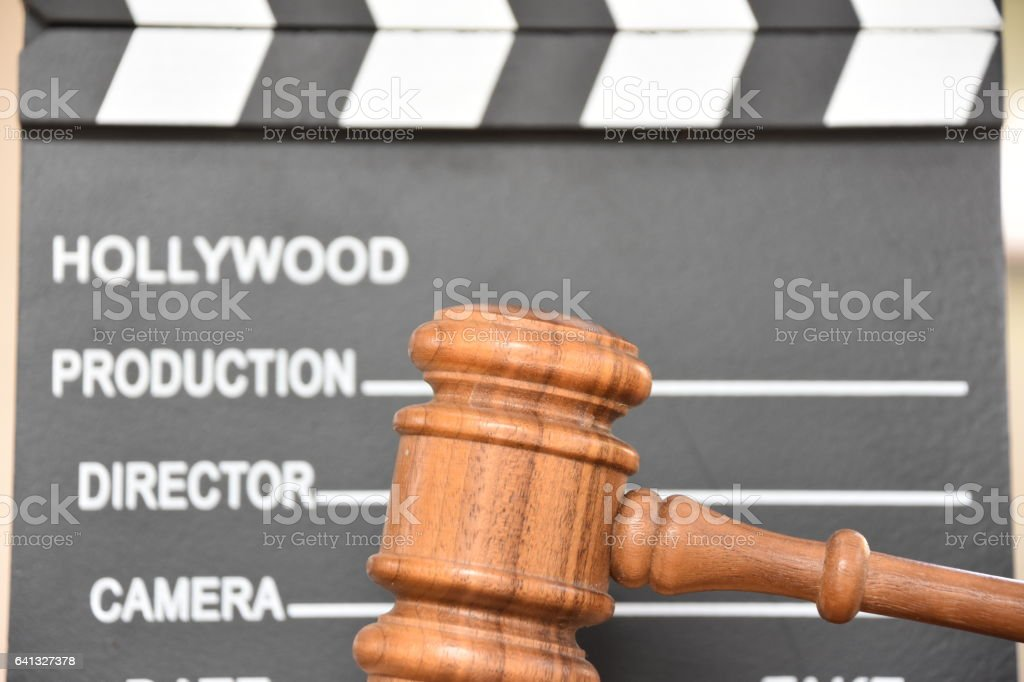 Hollywood clapper and judge hammer stock photo