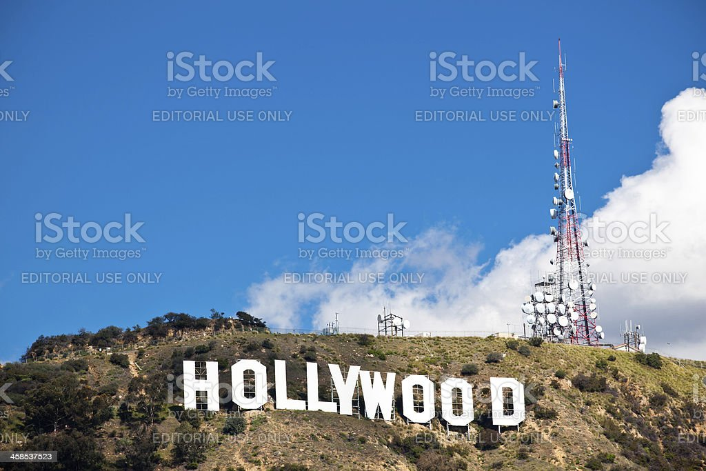 Hollywood sign and blue skies stock photo