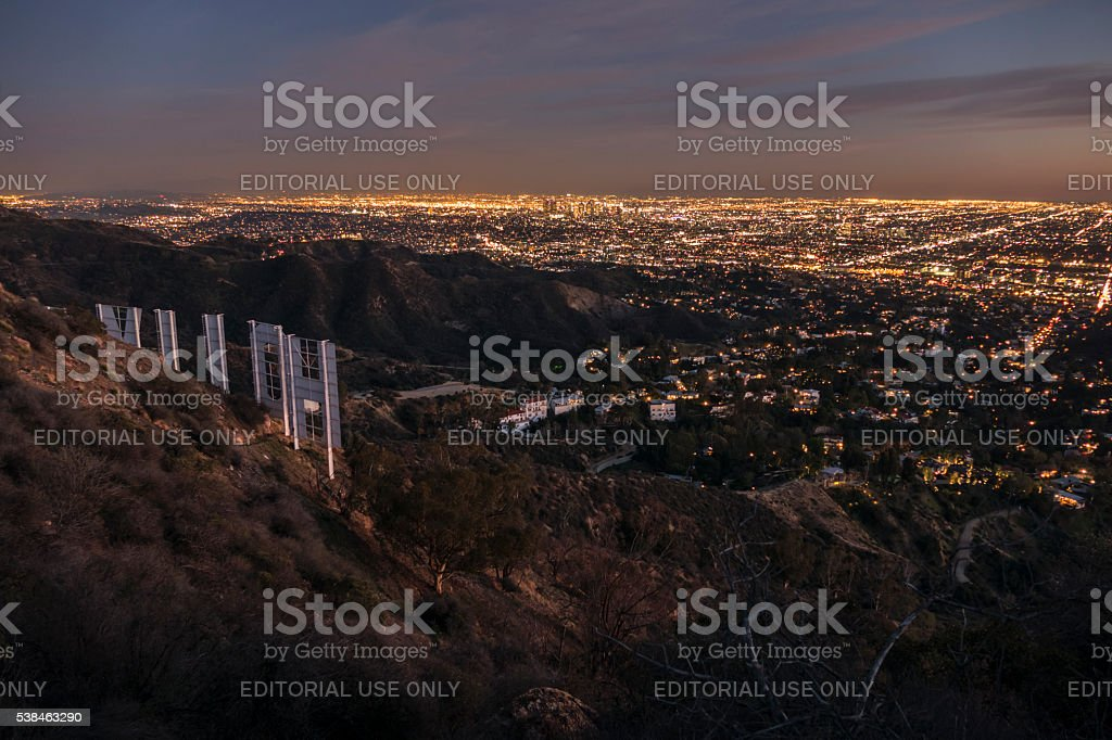 Hollywood Sign and Downtown Los Angeles Night View stock photo