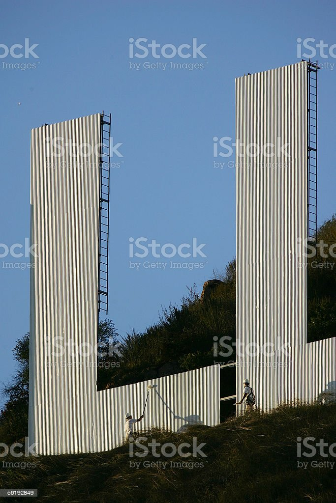 Hollywood Sign Begins Month-Long Makeover royalty-free stock photo