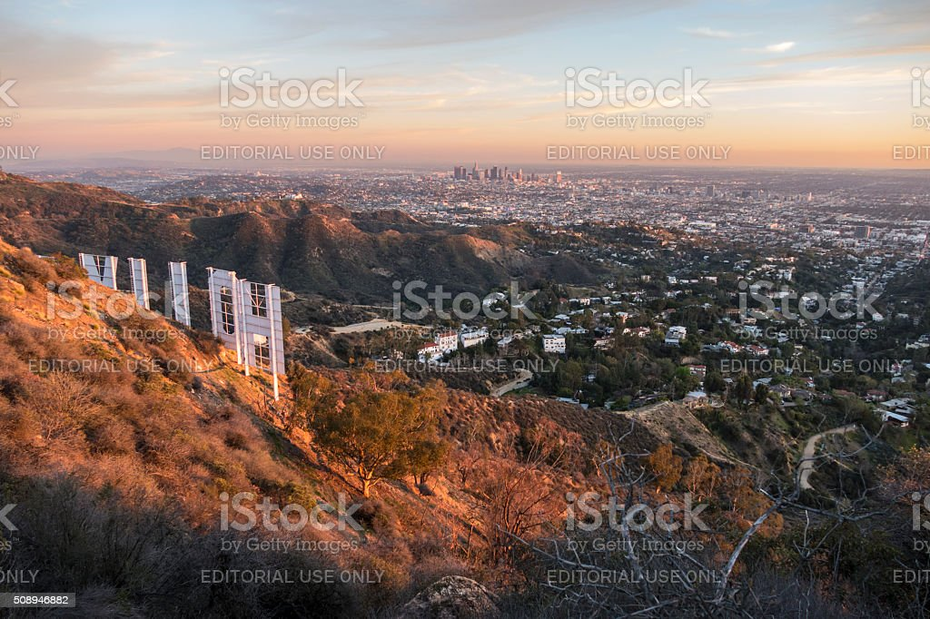 Hollywood Sign Dusk stock photo