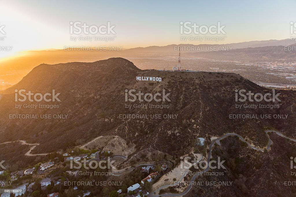 Hollywood Sign Griffith Park Los Angeles Sunset stock photo
