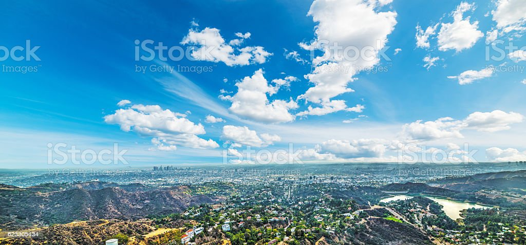Hollywood sign with Los Angeles on the background stock photo