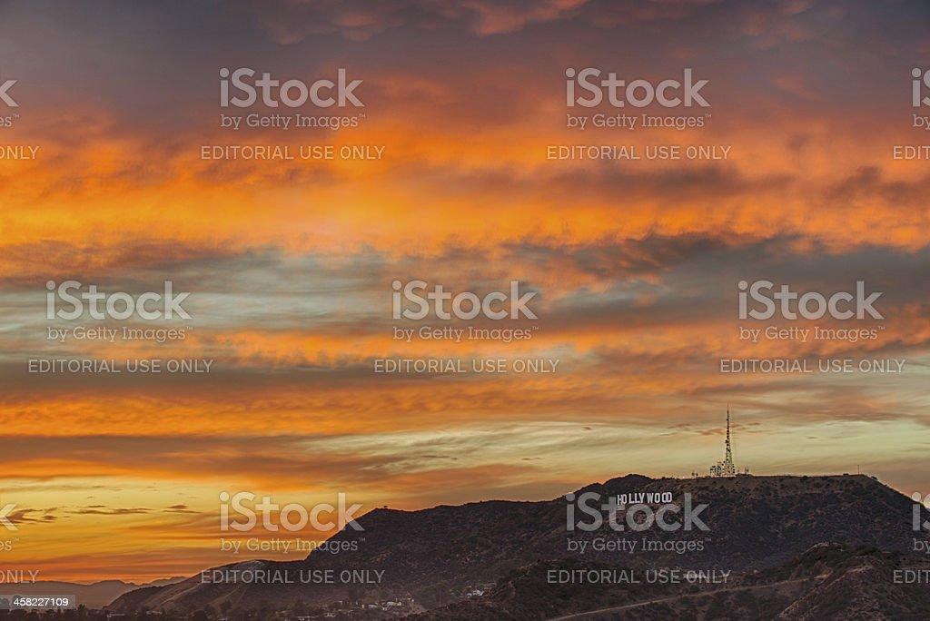 Hollywood sky at dusk royalty-free stock photo